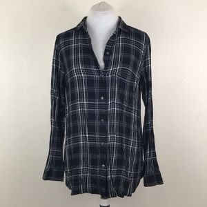 Old Navy Black White Plaid Button Down Shirt